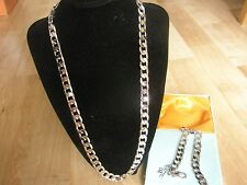 "Lifetime 18Carat WGP Chain 10mm 24"" Necklace & 9"" Bracelet & Box Gift Set Xmas"