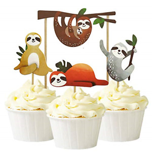 Alexless 24Pcs Sloth Cupcake Toppers Cake Picks Decoration for Baby Shower Party