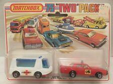 1976 Matchbox Two Packs Emergency Set Fire Chief Ambulance TP-7 Die-Cast Metal B