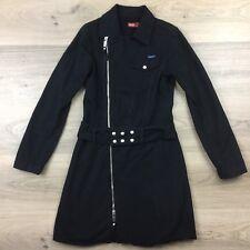 Diesel Black Zip Belt Women's Coat Cotton Size XS (BI1)