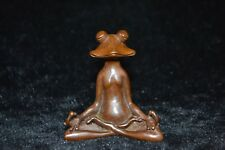 Collectible chinese Old Copper carve frog yoga meditation rare antique Statue
