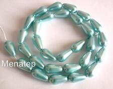 10 15x8mm Czech Glass Pearl Coated Drops: Aqua