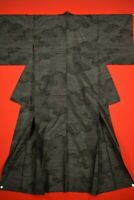Vintage Japanese Silk Antique BORO KIMONO Kusakizome TSUMUGI Woven/YJ58/730