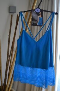 AUTOGRAPH Marks & Spencer Blue SATIN & LACE CAMISOLE CAMI Size 8 NEW WOW