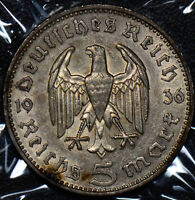 Germany 1936 F 5 Mark silver AU 190116 combine shipping