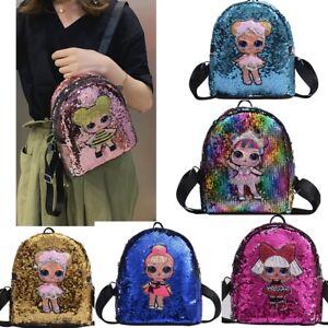Girl Sequin Glitter Doll Backpack Rucksack School Travel Bag Kids Magic Surprise