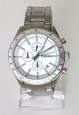 Fossil Herren Uhr Chronograph silber weiß blau Edelstahl Datum BQ2106 Neu OVP