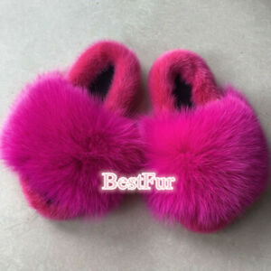 Rose Red-Real Mink Fur Fox Fur Slides Slippers Sandals Indoor Ourdoor Flat Shoes