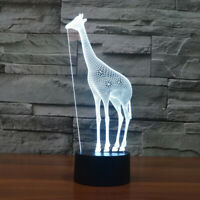 Night light Giraffe 3D lamp illusion LED Desk 7 Color acrylic Table Lamp gift