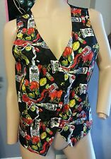 Vtg 90's Nicole Miller Ltd Edition Absolut Peppar Vodka Print Silk Vest M