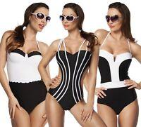 ATX Vintage Monokini Bademode Badeanzug Swimsuit schwarz weiß 34 36 38 40