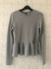 H&M Divided Grey Silver Sparkle Metallic Peplum Style Top Eur S