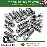 20 x 40MM Extra Long Wheel Bolts M14X1.25 For BMW With Spacers Alloy Wheels
