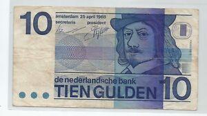 1968 Netherlands, Nederland 10 Gulden (Fine)