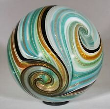 "Wald marbles handmade aventurine Lutz & uranium glass Quadrasphere marble 1.94"""