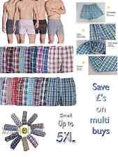 mens woven check boxer shorts cotton rich underwear breifs short trunks 3 6 9 12