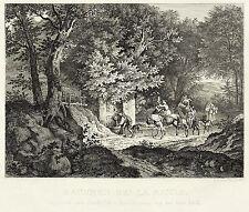 ADRIAN LUDWIG RICHTER - Brunnen Bei La Riccia - Radierung 1831