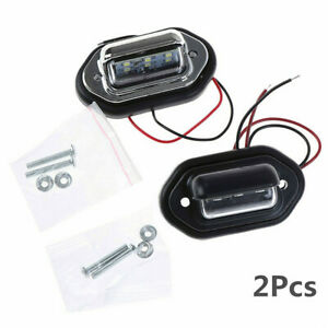 12-24V White 6 LED Car SUV License Plate Light Signal Tail Lamp Waterproof 2Pcs