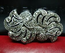 Art Deco Sterling Silver Marcasite Brooch Duet Clips/Brooch - Nathan Bros