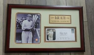 🔥 BABE RUTH Framed Matted Photo Envelope 714 Home Runs New York Yankees 25 x 16