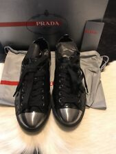 Prada Patent Leather Steel Toe Sneaker Black Size 36