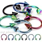 2pcs. 18g, 16g, 14g, 12g  Anodized Spiked Horseshoe Circular Barbell Ears Labret