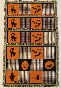 4 Vintage Woven Placemats Halloween Witches Cats Bats Owls Jack O Lantern