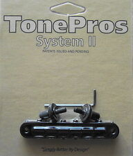 T3BP-B TonePros Standard Tune-O-Matic Bridge, Notched Saddles, Black