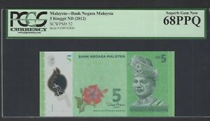 Malaysia 5 Ringgit ND(2012) P52 Uncirculated Graded 68