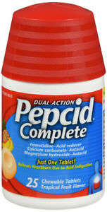 Pepcid Complete Acid Reducer + Antacid Chewable Tablets Tropical Fruit 25 Count