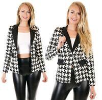 Damen Blazer Jacke Business Look Hahnentritt Stretch schwarz-weiß S M L ITALY