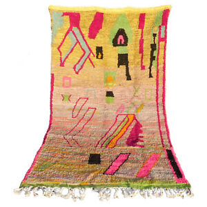 Vintage Moroccan Handmade Boujad Boujaad Beni ourain carpet Rug 5 FT X 8.3 FT