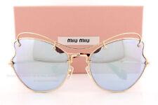 22e7fb460504 Brand New Miu Miu Sunglasses MU 56RS ZVN5Q0 Gold  Blue Mirror Women