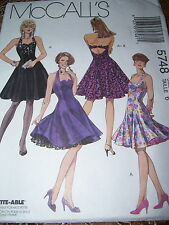 McCALL'S #5748 - LADIES STUNNING HALTER COCKTAIL GOWN w/POOF SKIRT PATTERN  6 uc