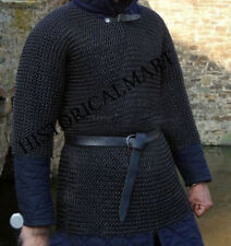 10MM CHAINMAIL HAUBERGEON BUTTED MILD STEEL SHIRT -LARGE SHIRT BLACKED ARMOR