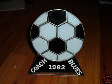 Stained Glass 1982 SOCCER BALL DISPLAY/DECORATION/TROPHY Coach Blues Art Sports