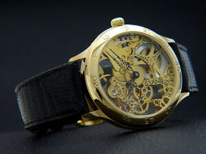 Swiss Men's Watch Skeletonized Hand Wound Caliber Eta Unitas Artwork 40mm