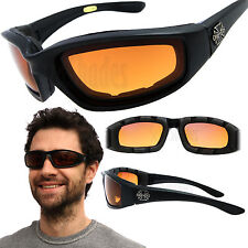 Chopper Wind Resistant Motorcycle Sunglasses w/ HD Amber Night Day Driving Lens