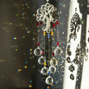 Crystal Hanging Pendant Tree Of Life Rainbow Suncatcher Glass Ball Prisms