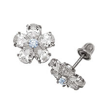 Baby Girl's Aquamarine & Created Diamond Flower Stud Earrings 14K White Gold