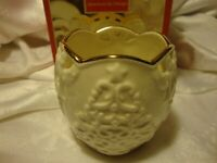 "Lenox CHRISTMAS 3.5"" Merry Lights Tree Votive Candle Holder Ivory Gold Trim 388"