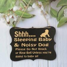 Shhh Sleeping Baby Room Board Hanging Plaque Sign Wall Door Home Decoration Gift