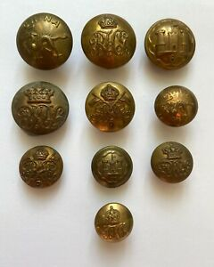 Assorted Vintage Brass Regimental Buttons x 10 (5 Pairs Large & Small)  VM569
