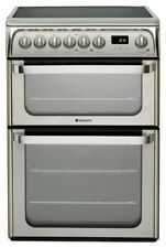 Hotpoint HUE61XS Free Standing 60cm 4 Hob Double Electric Cooker - Silver.