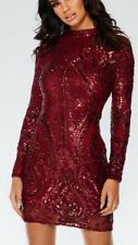 Quiz Red Berry Sequin Embellished Bodycon Occasion Party Short Dress Size 12