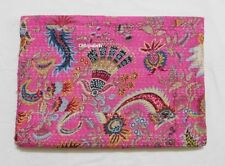 kantha Quilt Indian Crazy Indian Cotton Handmade Bedspread Queen Pink Gudari
