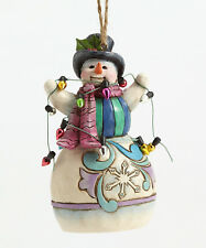 Enesco Jim Shore Heartwood Creek Snowman Wrapped in Lights Ornament Nib 4055125