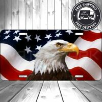 Aluminum American Eagle Flag Patriotic License Plate Flag Car Truck Auto USA Tag