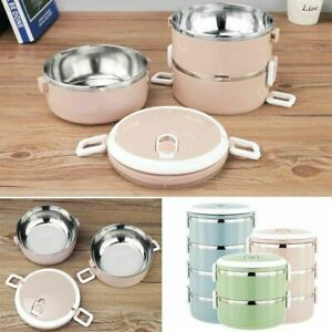 1-4 Layer Tier Stainless Steel Thermal Insulated Stackable Lunch Box Bento Food