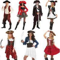 Mens Ladies Pirate Fancy Dress Costume Caribbean Buccaneer Wench Captain Outfit